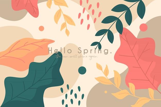 Prachtige lente achtergrond met bladeren