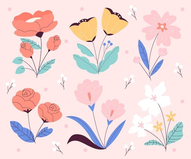 Prachtige lente bloemen set Gratis Vector