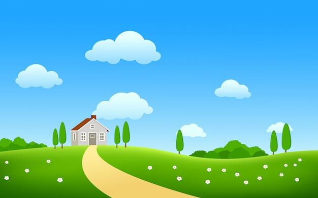 Prachtige lente in platteland vector landschap