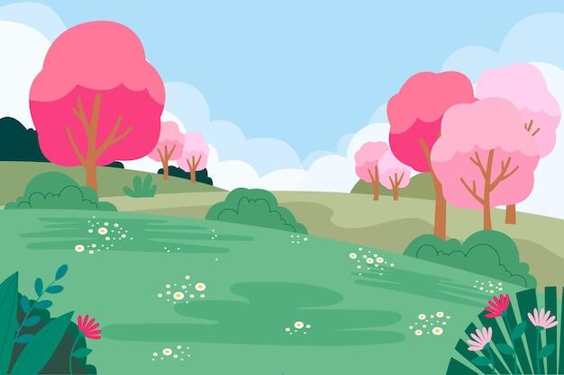 Prachtige lente natuurlijke landschap illustratie