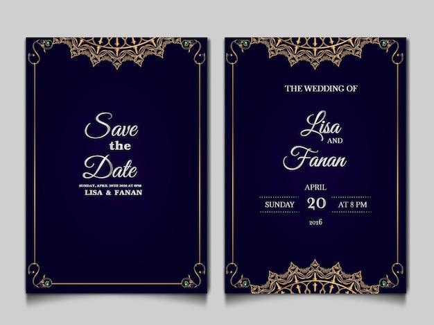 Prachtige luxe bruiloft uitnodigingskaartsjabloon set