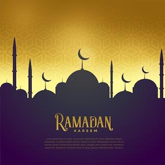 Prachtige moskee op gouden achtergrond