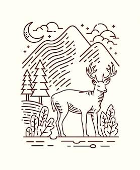 Prachtige natuur lijn illustratie