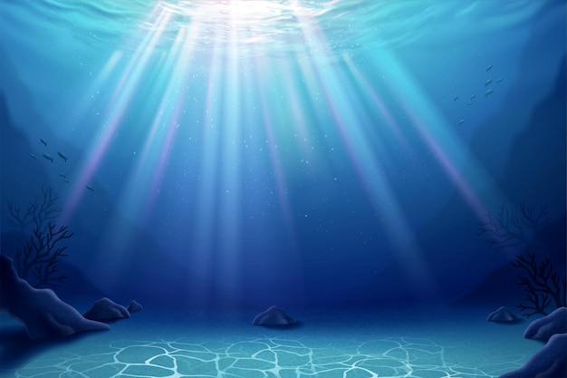 Prachtige onderwater mariene wereld achtergrond in 3d