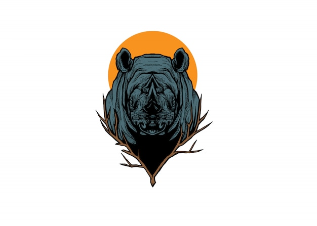 Prachtige rhino head illustratie ontwerpen