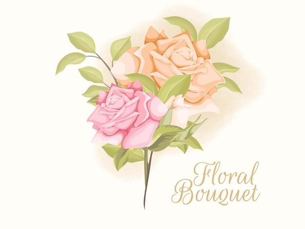 Prachtige rose bouquet vector floral sjabloon