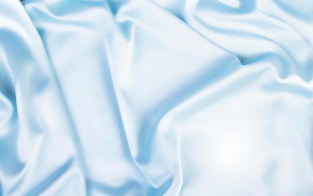 Prachtige satijnen achtergrond, bovenaanzicht van blauwe stof