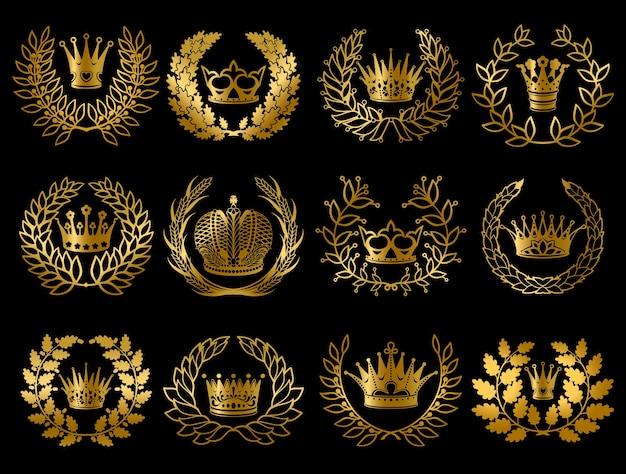 Prachtige set met gouden kransen