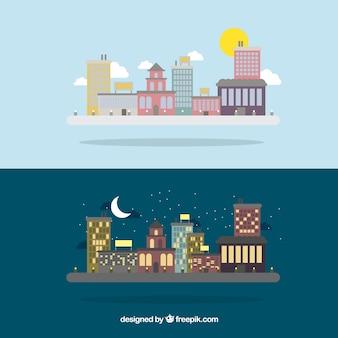 Prachtige stad in verschillende momenten van de dag