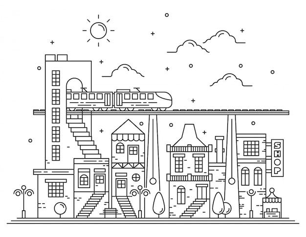 Prachtige stadszichtillustraties met dunne lijnstijl