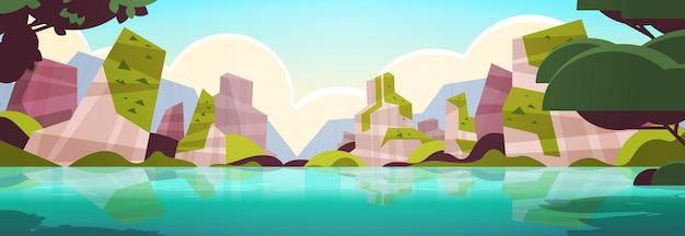 Prachtige tropische strand landschap zomer kust met bomen en bergen horizontale vectorillustratie