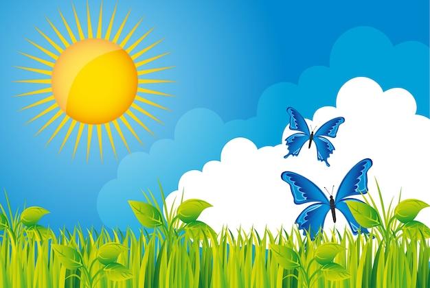 Prachtige tuin met gras en vlinder