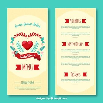 Prachtige valentijn menu concept