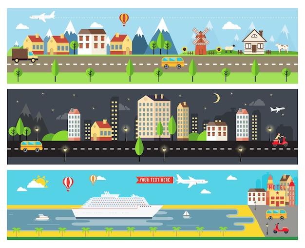 Prachtige vector cartooninzed stadslandschap