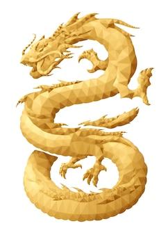 Prachtige vector laag poly illustratie met gestileerde gouden oostelijke draak geïsoleerd op de witte background