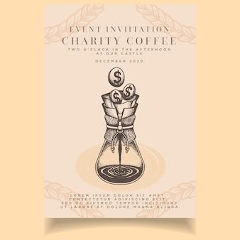 Prachtige vintage liefdadigheid uitnodigingskaart sjabloon koffie