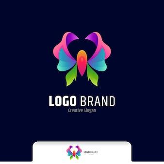 Prachtige vlinder kleurrijke gradiënt logo vector sjabloon