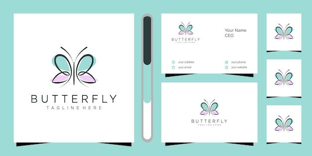 Prachtige vlinder logo en visitekaartje