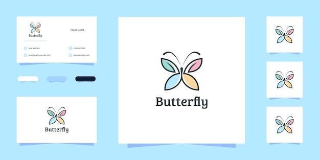 Prachtige vlinder logo ontwerp en visitekaartje