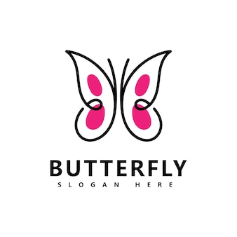 Prachtige vlinder merk logo pictogram vector