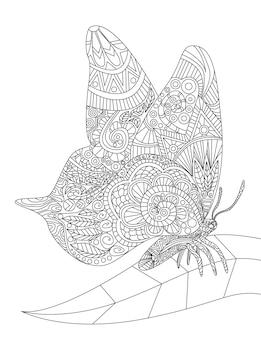 Prachtige vlinder rustend op een enkel blad spreidende vleugels kleurloze lijntekening mot met