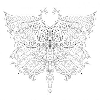 Prachtige vlinder voor volwassen kleurboek