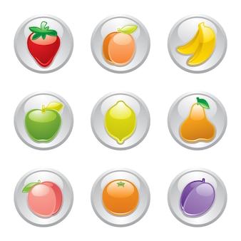 Prachtige vruchten pictogrammen knoppen ontwerp