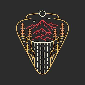 Prachtige waterval-badge monoline