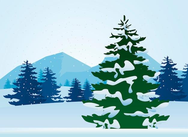 Prachtige winterlandschap scène met dennen bomen illustratie