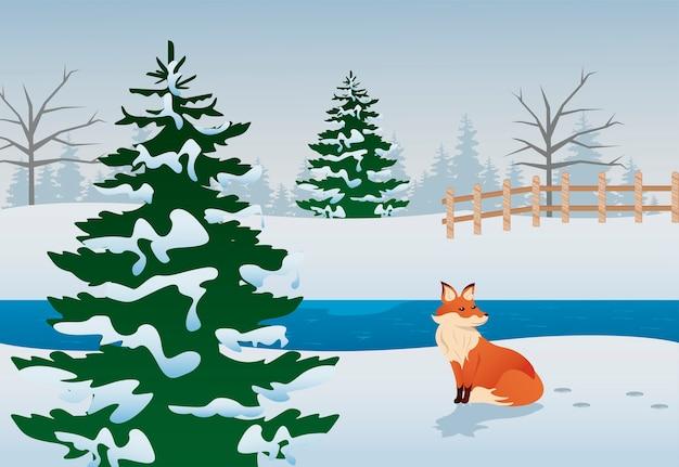 Prachtige winterlandschap scène met vos en dennen illustratie