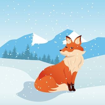Prachtige winterlandschap scène met vos illustratie