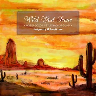 Prachtige woestijn achtergrond in aquarel stijl
