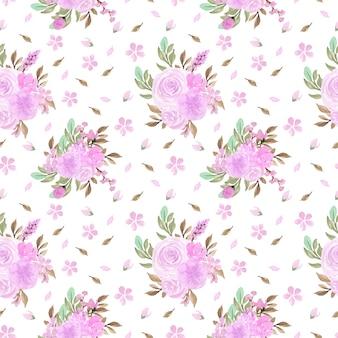 Prachtige zachte paarse bloem aquarel naadloze patroon