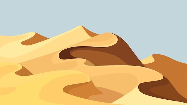 Prachtige zandduinen. woestijnlandschap in cartoon stijl.