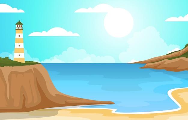 Prachtige zee panorama strand kust baai oceaan landschap illustratie