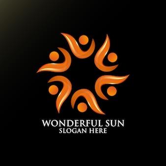 Prachtige zon logo ontwerp voor sjabloon