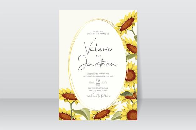 Prachtige zonnebloem bruiloft uitnodigingskaartsjabloon
