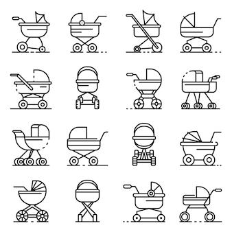 Pram pictogrammen instellen. overzicht set van kinderwagen vector iconen