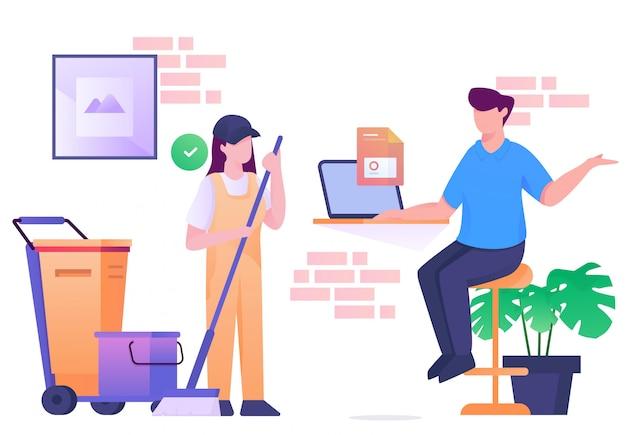 Praten gesprek baas en schoonmaak service illustratie