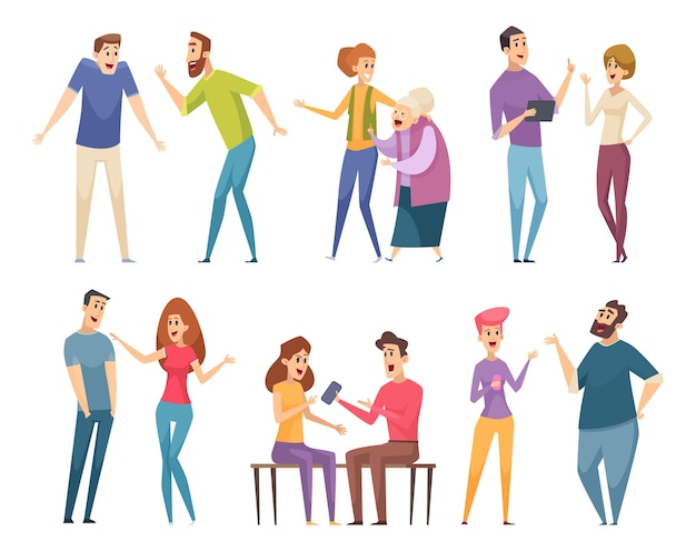 Pratende mensen. gesprek menigte communicatie tekens personen groep