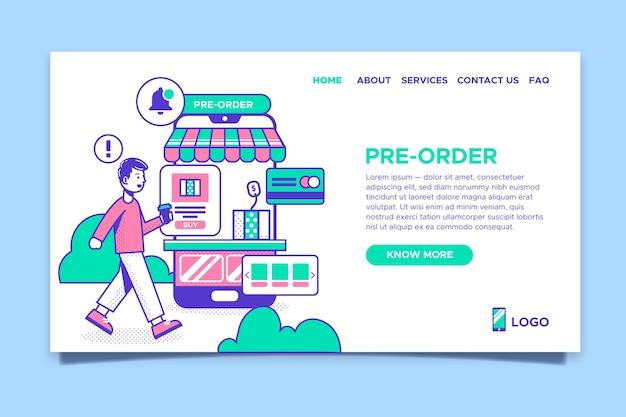 Pre-order concept - bestemmingspagina