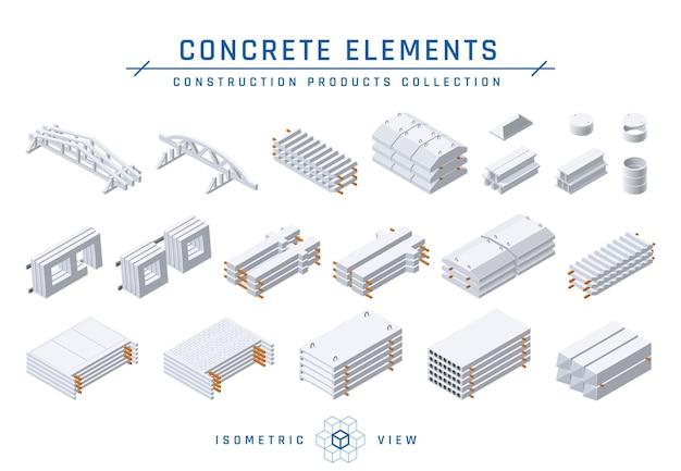 Prefab betonelementen voor modulaire gebouwen in isometrische weergave