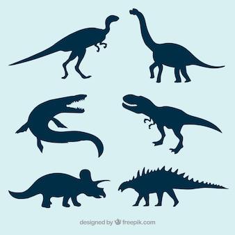Prehistorische dinosaurus vector silhouetten