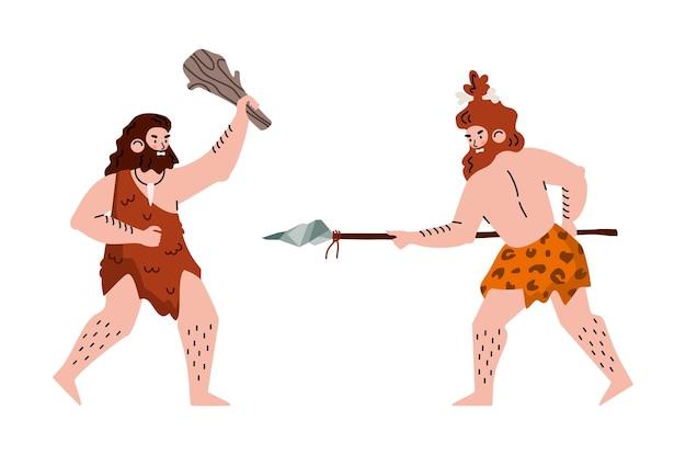Prehistorische holbewoner neanderthalers uit het stenen tijdperk vechten met primitief wapen