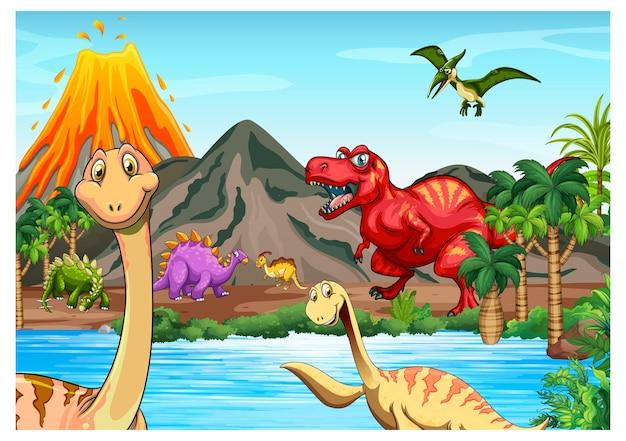 Prehistorische landschapsscène met verschillende dinosaurussen