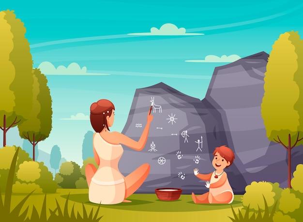 Prehistorische mensen rock art platte compositie met holbewoner vrouw en kind schilderen op grot muur illustratie
