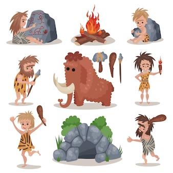 Prehistorische steentijdreeks, primitieve mensen, steentijdwapen en hulpmiddelenillustraties