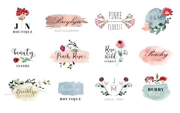 Premade logo met bloemen- en penseelstreek aquarel collectie