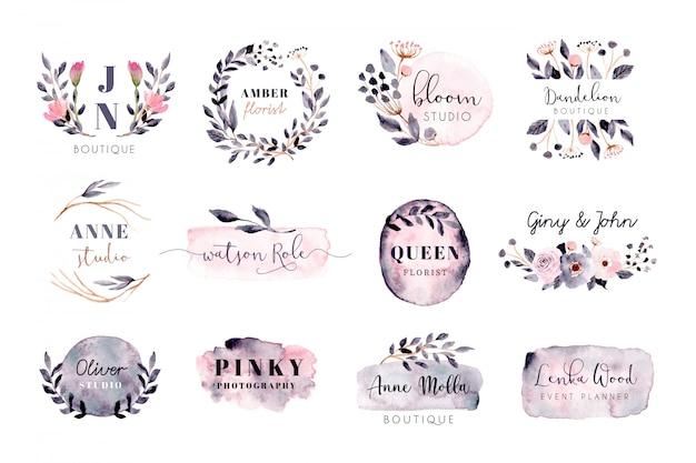Premade logo met grijs roze penseelstreek en bloemen aquarel