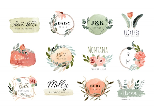 Premade logo met perzik groene bloemen en penseelstreek aquarel collectie